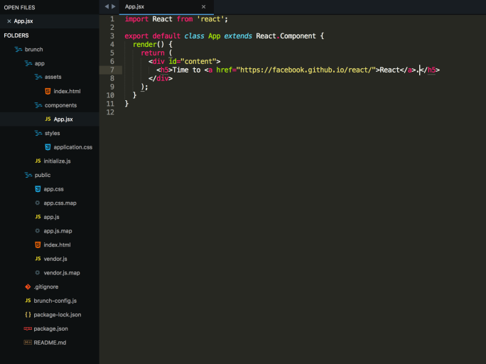 Brunch React Skeleton in Sublime